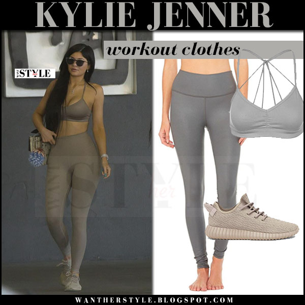 Kylie Jenner in grey sports bra, grey leggings and beige sneakers what she wore workout clothes