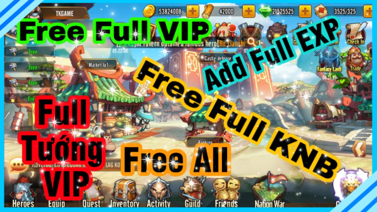 Tam Quốc Go Private | Free Full VIP | Free Full KNB | Full Tướng VIP | Add Full EXP | Free Full All 1
