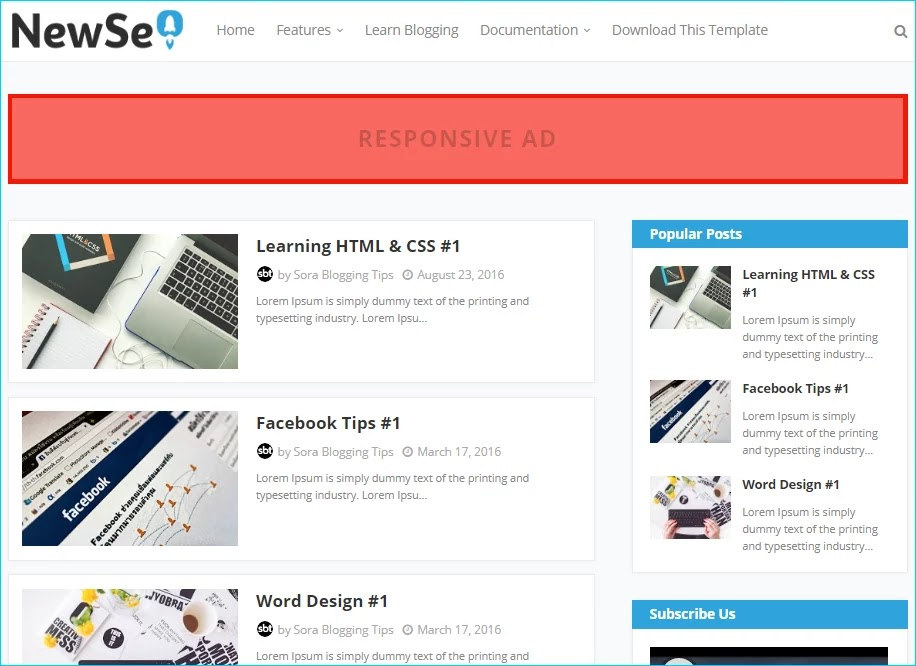 New Seo Blogger Template
