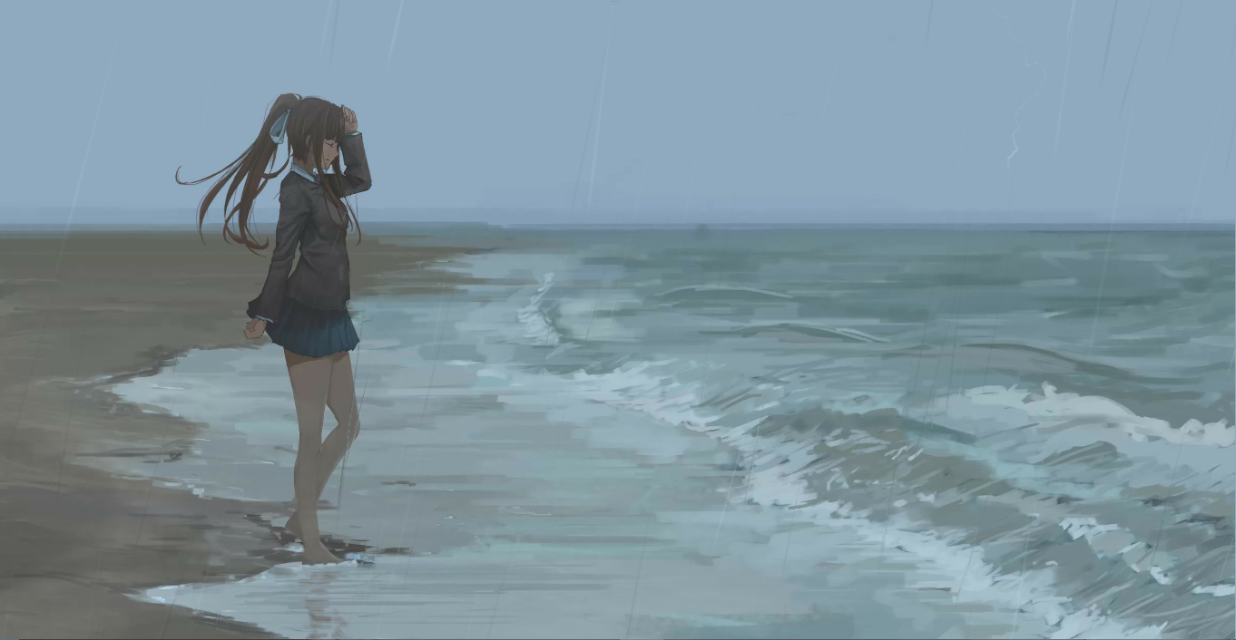 Monika: Rainy Day (With Parallax, Effects And BGM) [Wallpaper Engine Anime]