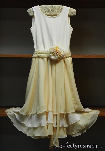 sukienka dla małej księżniczki szyfon, dzianina