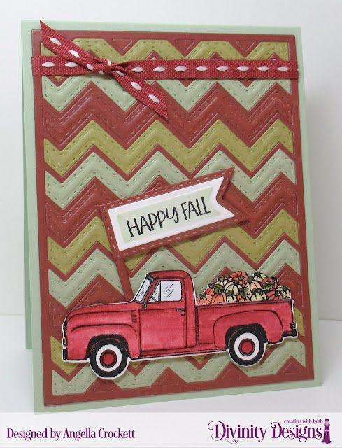 Divinity Designs LLC: Load of Love Stamp/Die Duos, Retro Christmas Paper Pad, Chevron Background Die, Pennant Flags Dies, Double Stitched Pennant Flags Dies; Card Designer Angie Crockett