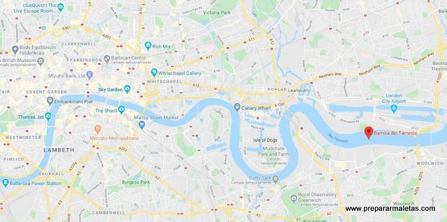 dónde está la barrera del Támesis en Londres