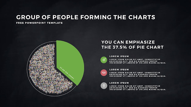 Free PowerPoint Template with Group of People Forming The Pie Chart for Emphasize 37.5 % Business Area with Dark Backgrounbd