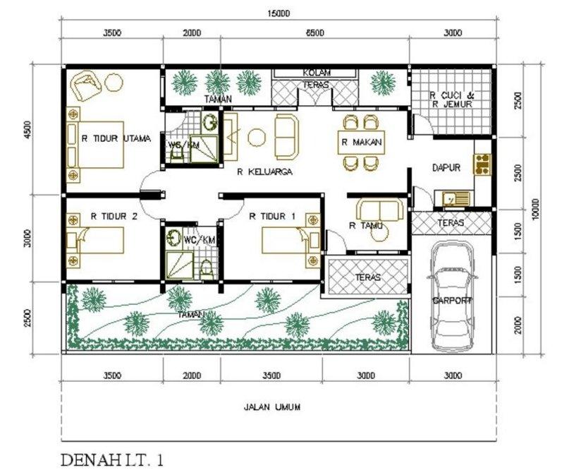 denah rumah ukuran 15x10 modern