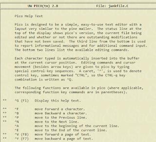 Pico text editor
