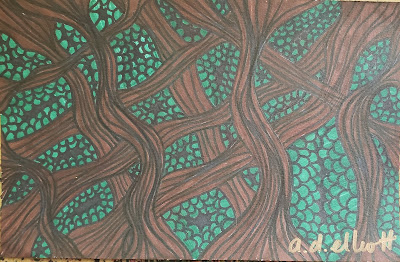 A pen and ink doodle meditation in brown and green and a blurb about the Statue of Liberty
