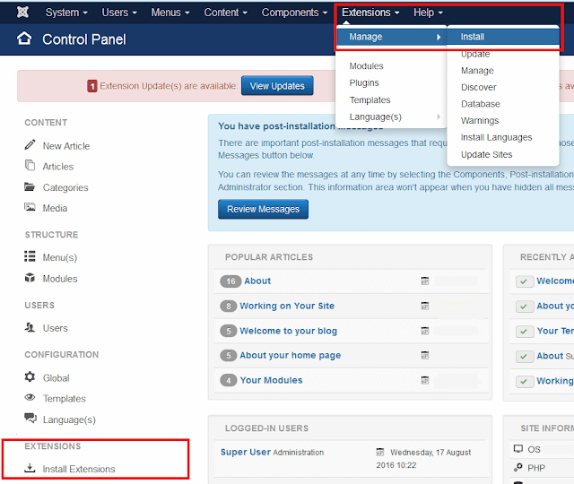 install pushcrew for joomla guide