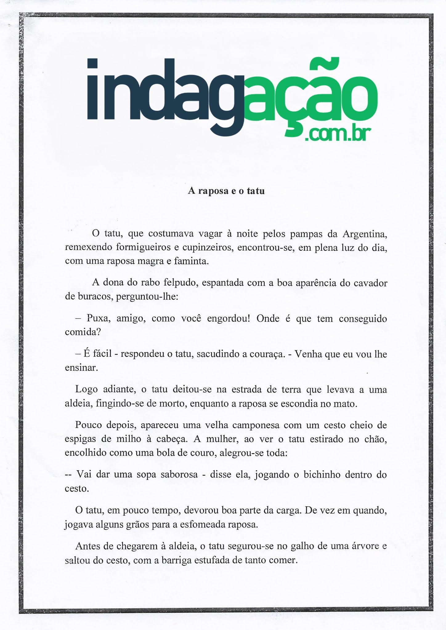 Atividade Português: Gênero textual fabula e ortografia – Atividade Fundamental