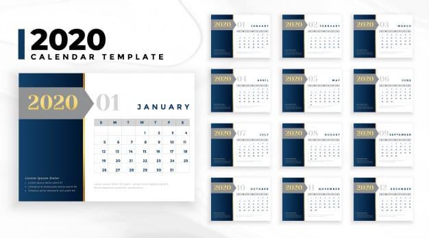 Elegante plantilla de calendario 2020 para negocios