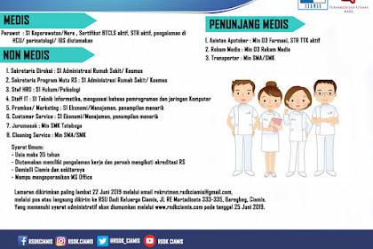 12 Formasi Lowongan Kerja RSDK Ciamis (Customer Service Promkes/ Marketing Asisten Apoteker Jurumasak dll)
