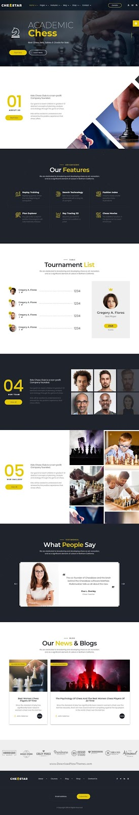 Chess Club and Personal Trainer HTML Template