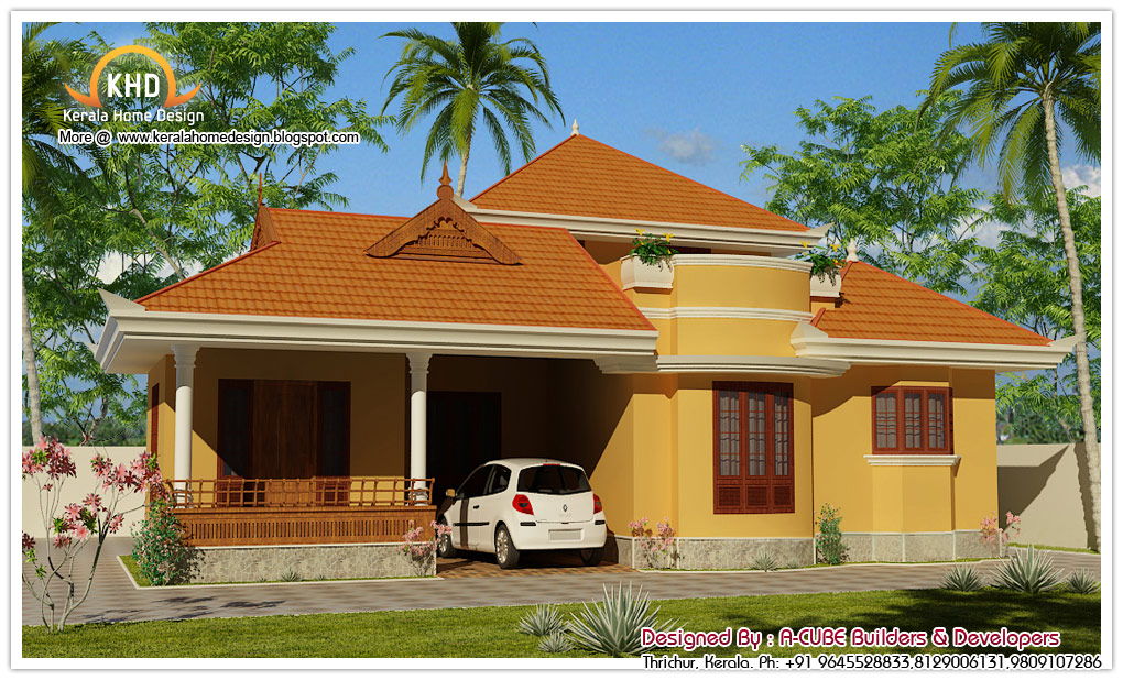 Kerala Style Single Floor House Architecture 1400 Sq Ft – 1500 Sq Ft Single Floor House Plans
