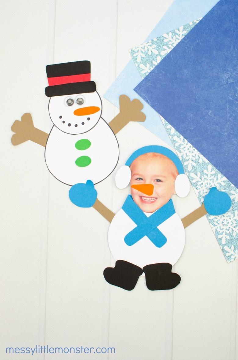 paper snowman snow craft for kids