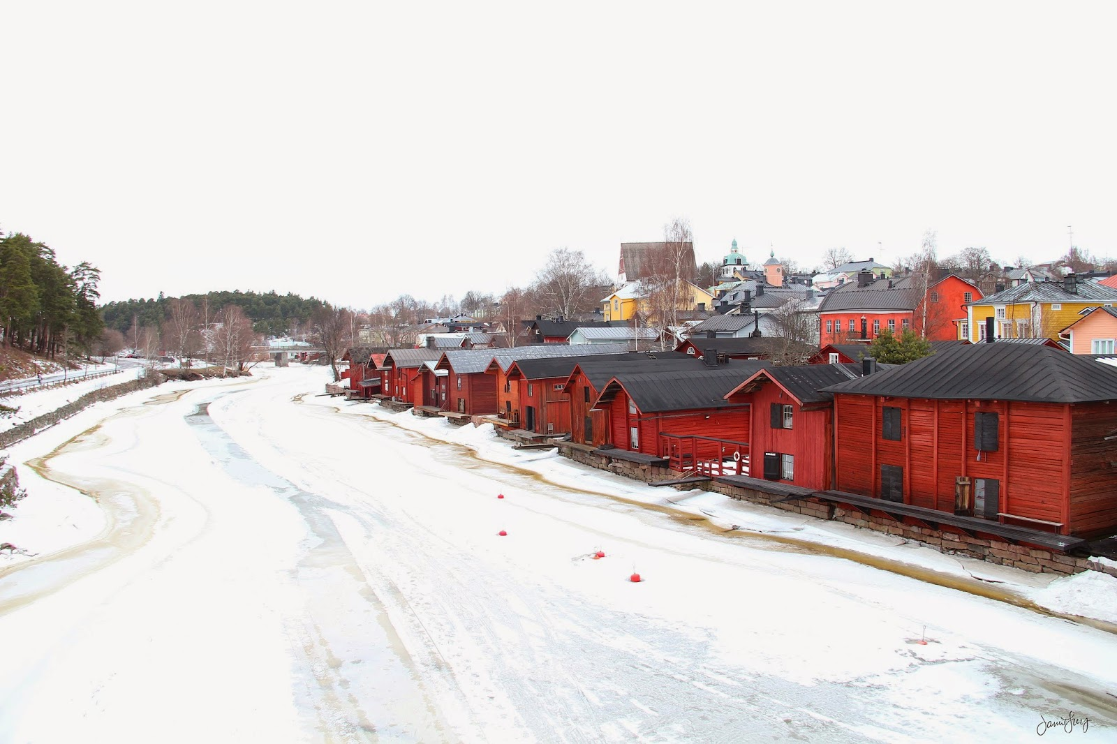 Red Shore Houses on the Porvoo River, Finland