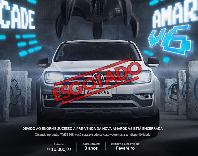 Volkswagen Amarok V6 esgotada na pré-venda