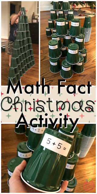 Math Christmas tree activity- the perfect center or math station activity for December