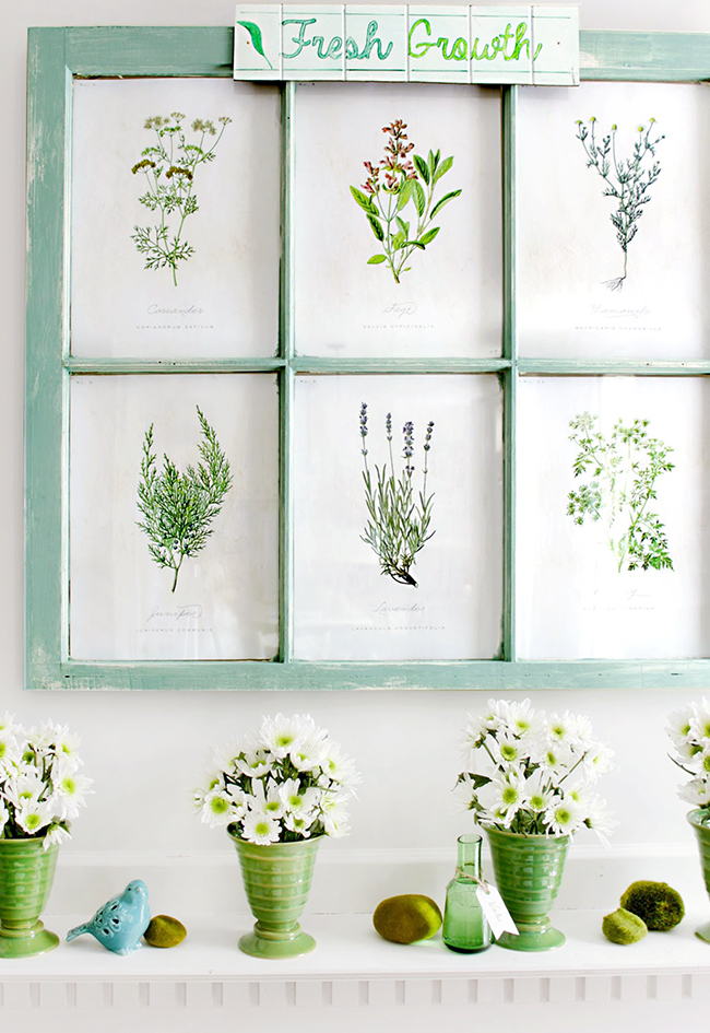 free botanical prints Spring mantel