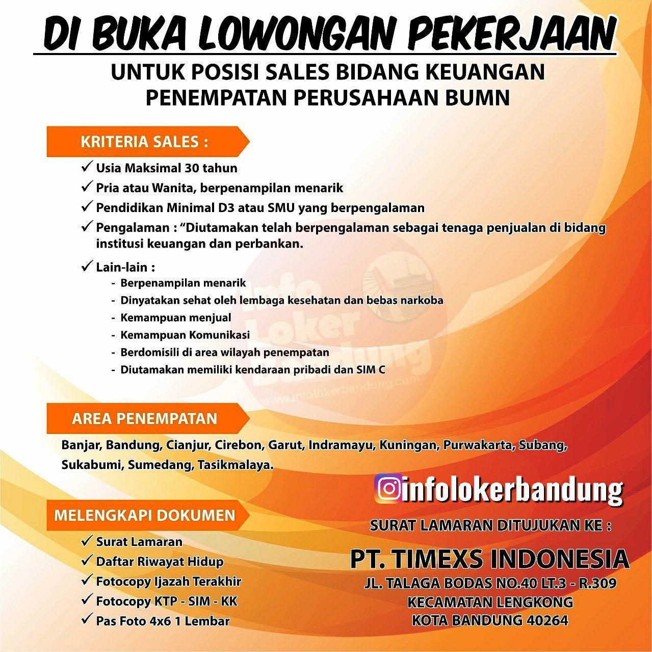 Lowongan Kerja PT. Timexs Indonesia Bandung Oktober 2019