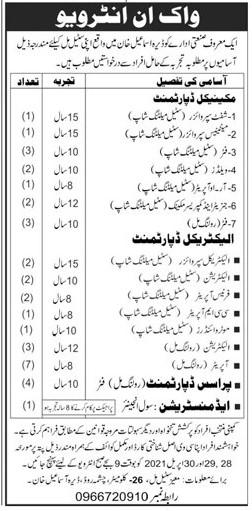 Steel Mill Dera Ismail Khan Jobs 2021 in Pakistan