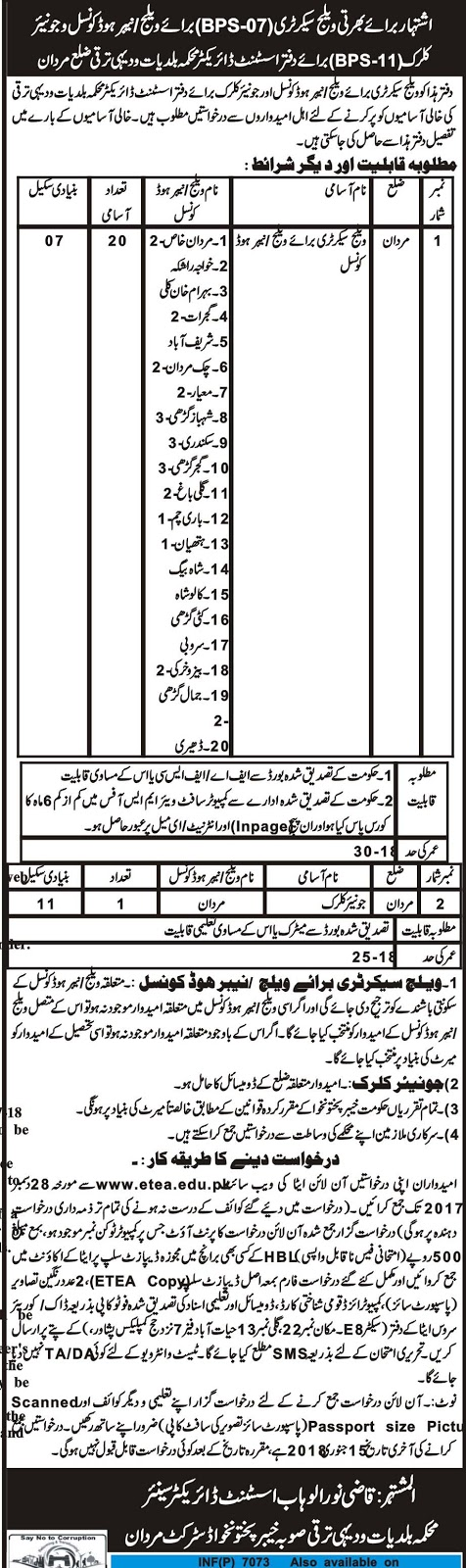 Jobs In Local Government & Rural Development Department Mardan Dec 2017