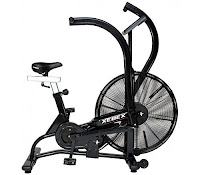 "Xebex Air Bike AB-1, competition ready air fan exercise bike with heavy-duty 24"" fan wheel and chain drive system, unlimited air resistance system"