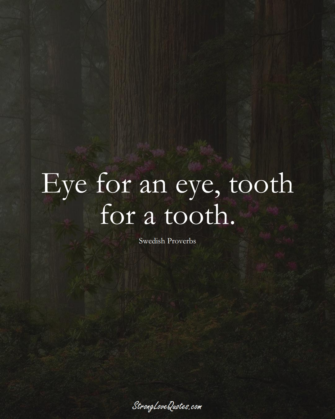 Eye for an eye, tooth for a tooth. (Swedish Sayings);  #EuropeanSayings