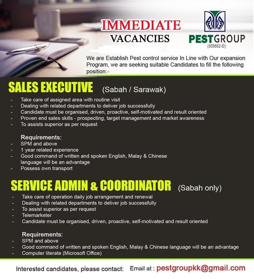 Kerja Kosong Sabah 2019   SERVICE ADMIN & COORDINATOR ...