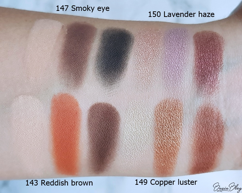 paletki cieni Sensique, Sensique Creative Eyeshadows, 149 copper luster, 143 reddish brown, 147 smoky eye, 150 lavender haze