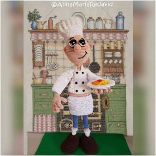 patron amigurumi Cocinero italiano galamigurumis