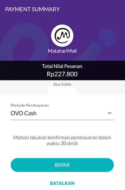 cara membayar matahari mall dengan OVO