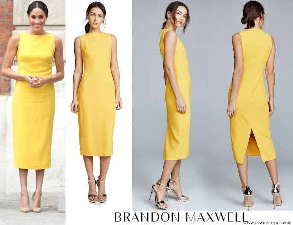 Meghan Markle wore Brandon Maxwell Yellow Crepe Midi Dress