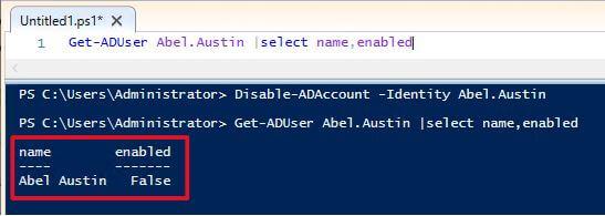 Get-ADUser Abel.Austin |select name,enabled