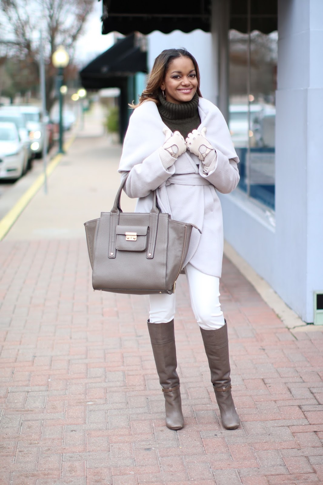 tahari shawl collar coat, shawl collar coat,olivia pope style, henri bendel moto gloves, philip lim for target handbag, tory burch boots, taupe boots, wear white in winter, winter fashion, fashion blogger, dallas blogger, black girl blogger, how to wear neutrals