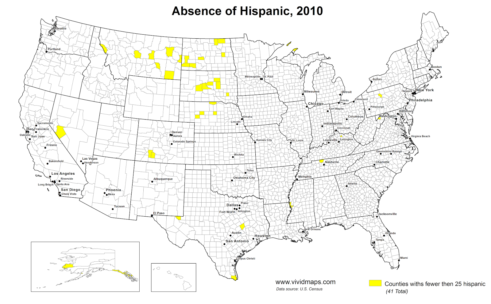 Counties with fewer than 25 hispanic Americans, 2010