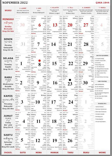 Kalender Bali November 2022 Lengkap Format PDF dan JPG