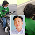 Grab food rider spotted stopping at the side of the road to attend online class