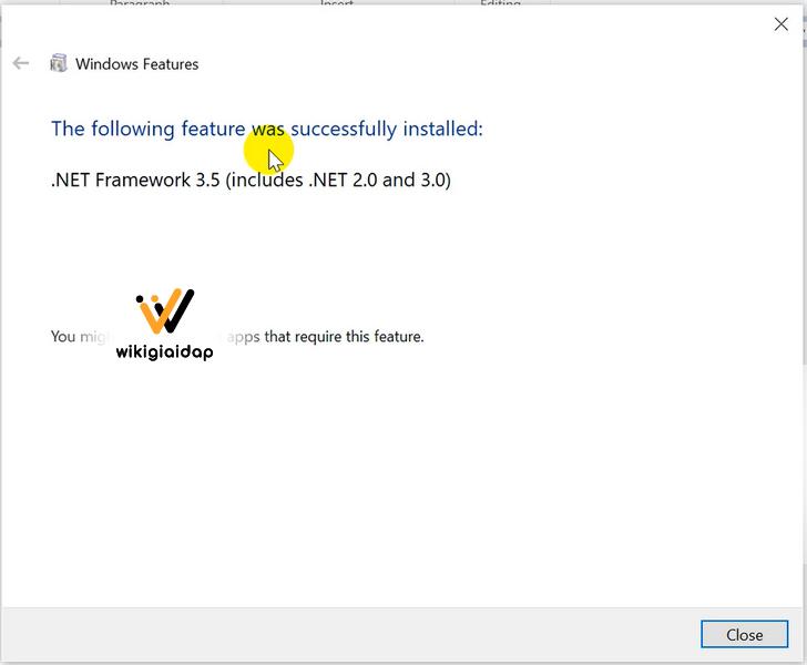 CÀI ĐẶT .NET FRAMWORK 3.5 thành công