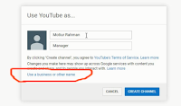 You Tube Channel Create a business name