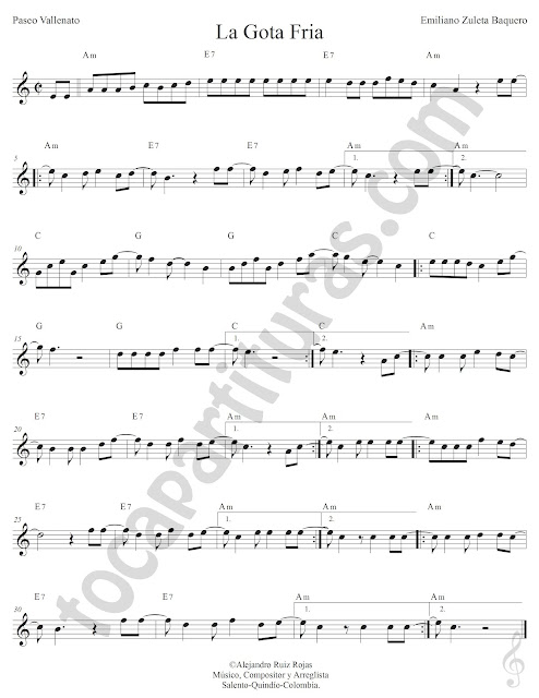 La Gota Fría Vallenato de Emiliano Zuleta Baquero Partitura Fácil con Acordes La Gota Fría Sheet Music with Chords