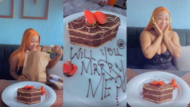 Lady receives N2.5million cash after saying a YES to her man's Proposal (Video)