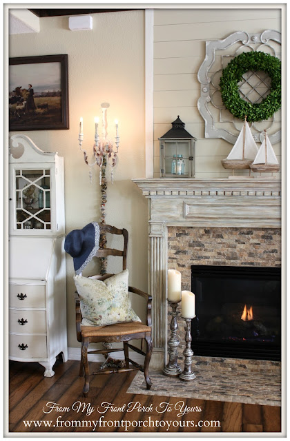Simple Nautical Fireplace Mantel Display-Beach Decor- Vignette- From My Front Porch To Yours