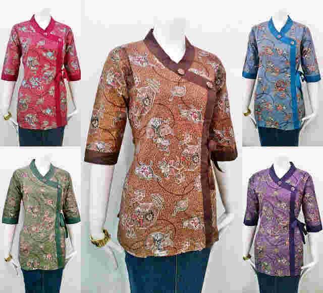 Model Baju Batik Terbaru Kerja Kombinasi Keluarga Muslim: Model Baju Batik Kantor Terbaru Wanita Kombinasi Atas