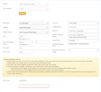 contoh form formasi dan data pendidikan cpns lengkap