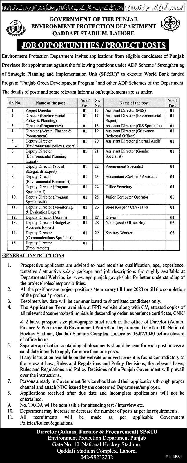 Environment Protection Department Lahore Jobs