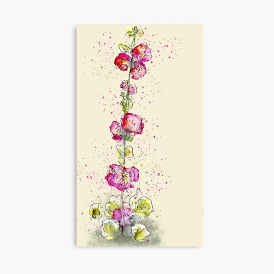 Pink hollyhocks whimsical watercolour print on canvas