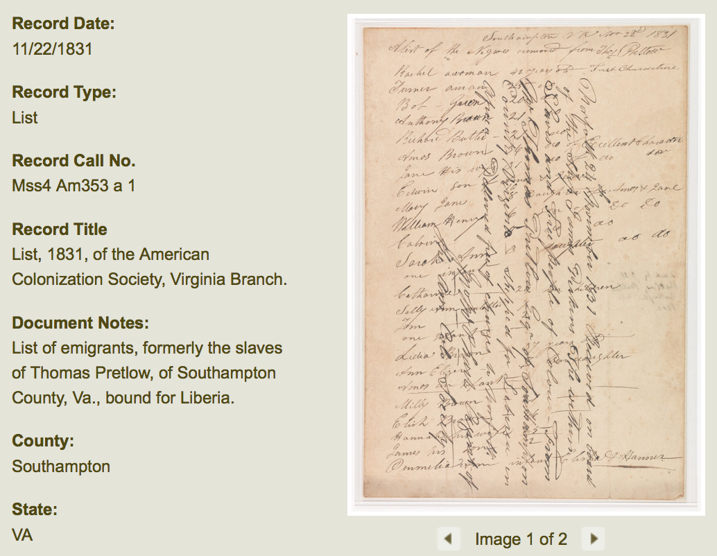 Virginia Slaves' Identities Discovered and Online