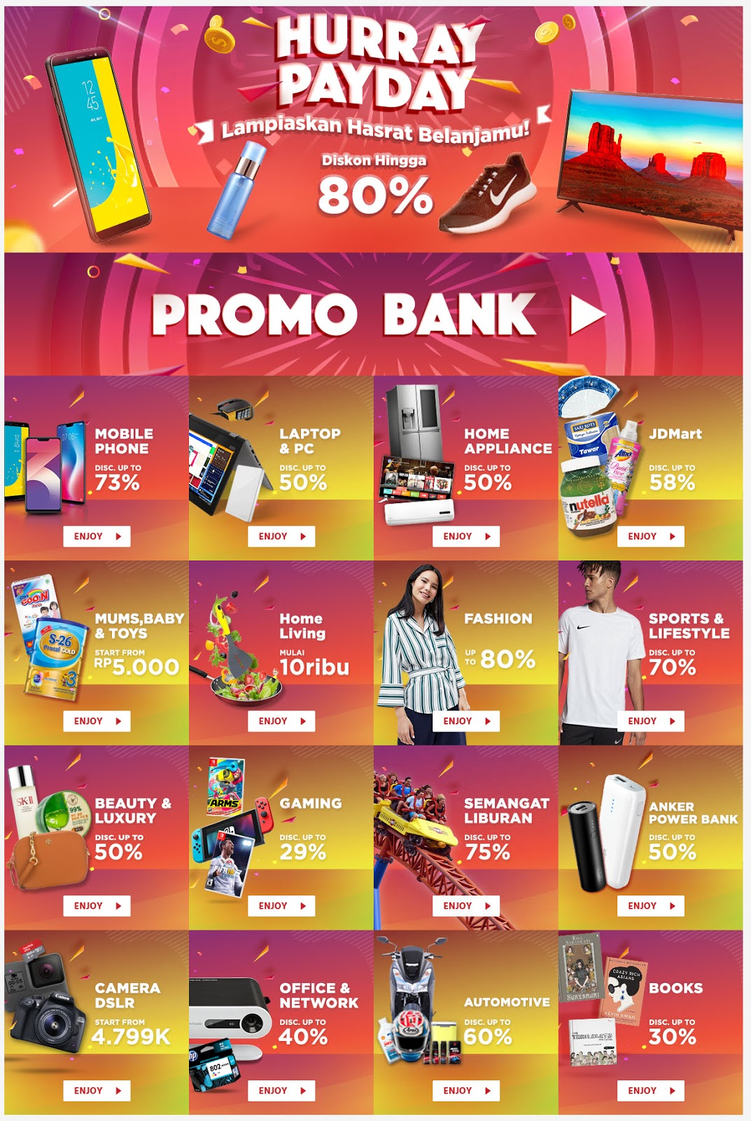 JdId - Multi Promo Hurray PayDay Diskon s.d 80% Periode September 2018