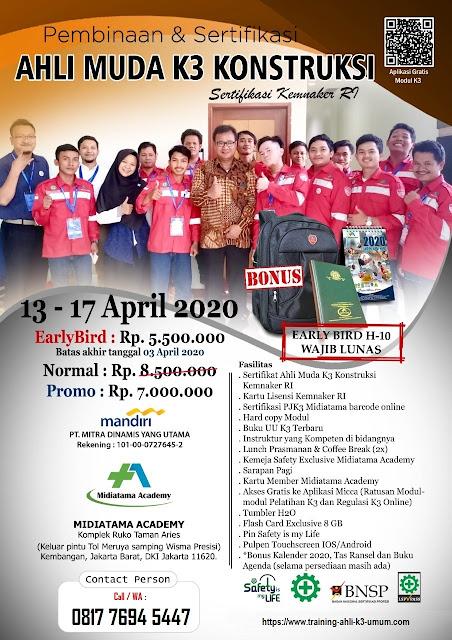 Ahli Muda K3 Konstruksi kemnaker tgl. 13-17 April 2020 di Jakarta