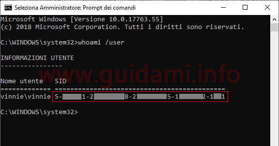 Prompt dei comandi di Windows con SID
